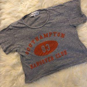 Wildfox Gray Southampton Hangover Club Crop Tee